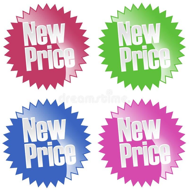 Nuovo insieme dell'autoadesivo di prezzi illustrazione di stock