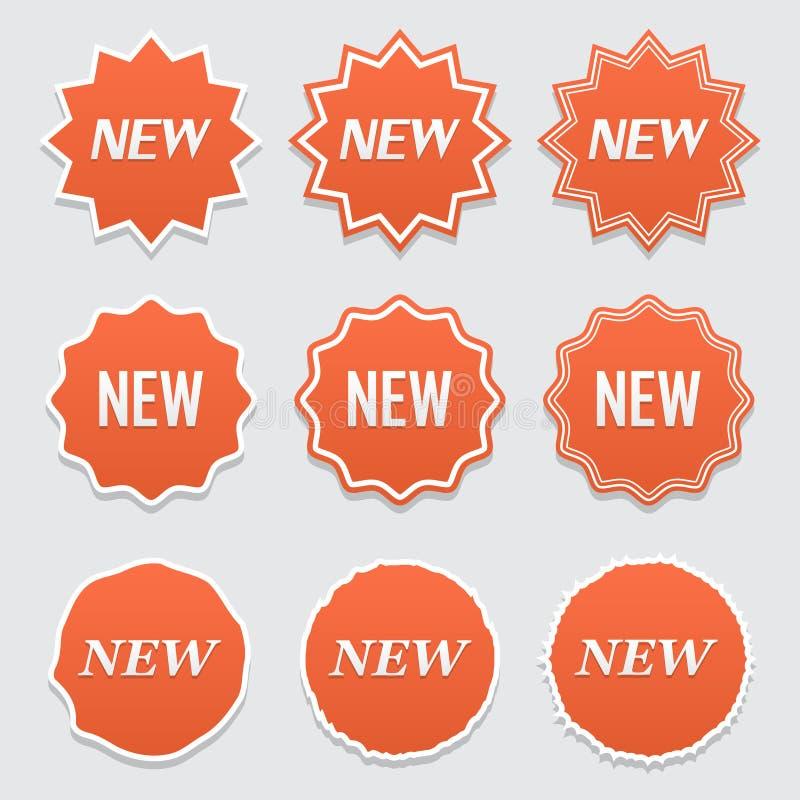 Nuovo insieme dell'autoadesivo Insegna di vendita di vettore per il deposito di web Autoadesivi del prodotto con l'offerta L'ango royalty illustrazione gratis