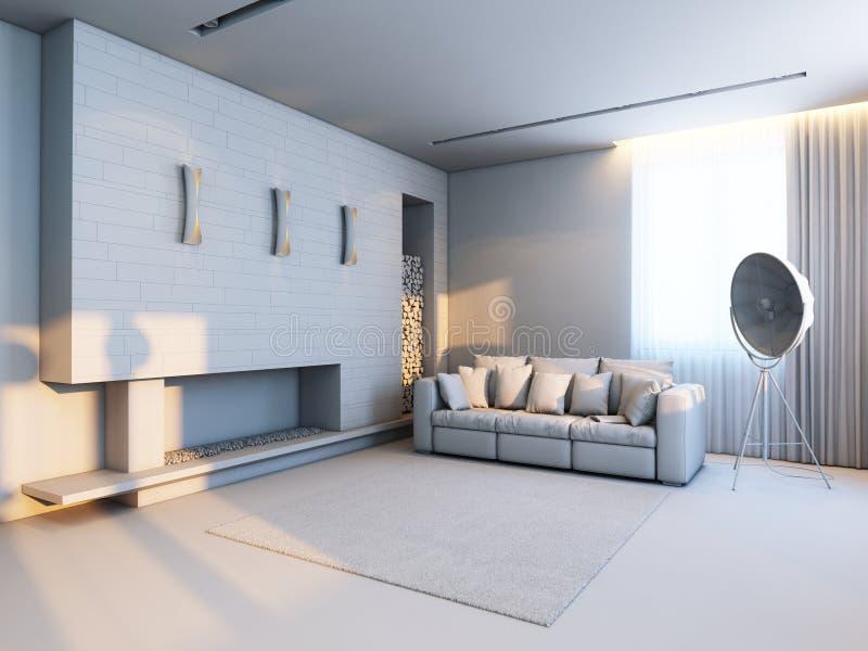 Nuovo interior design nello stile di minimalismo illustrazione di stock