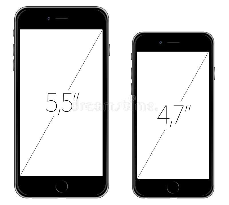 Nuovo iPhone 6 di Apple e iPhone 6 più illustrazione di stock