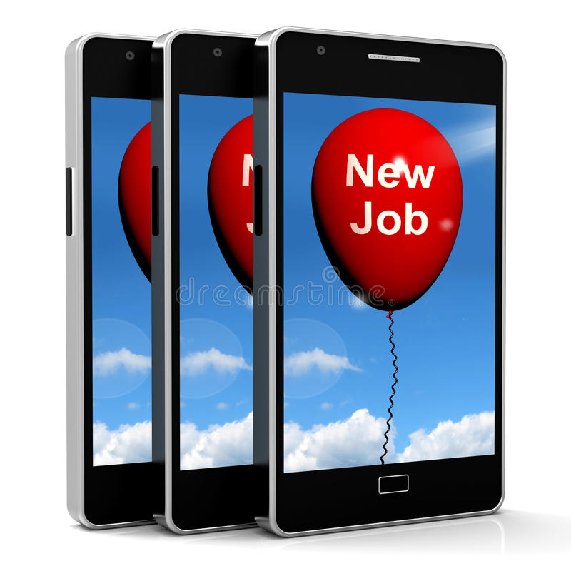 Nuovo Job Balloon Shows New Beginnings nelle carriere royalty illustrazione gratis