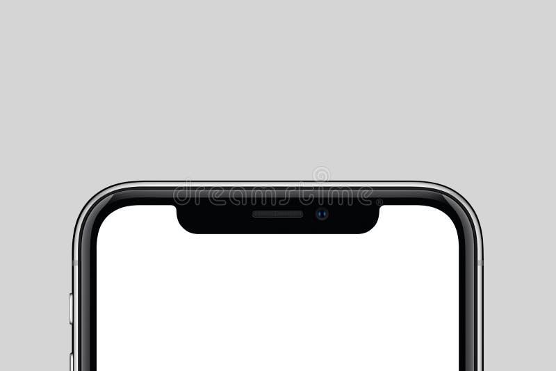 Nuovo modello moderno dello smartphone del primo piano con lo spazio della copia su fondo grigio immagine stock