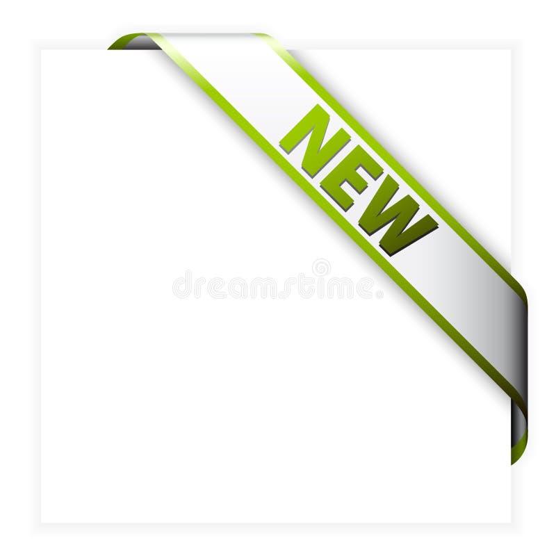 Nuovo nastro d'angolo bianco con il bordo verde illustrazione di stock