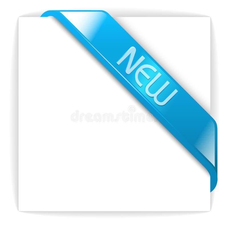 Nuovo nastro d'angolo blu vetroso illustrazione vettoriale