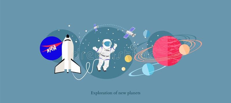Nuovo piano dell'icona dei pianeti di esplorazione isolato illustrazione di stock