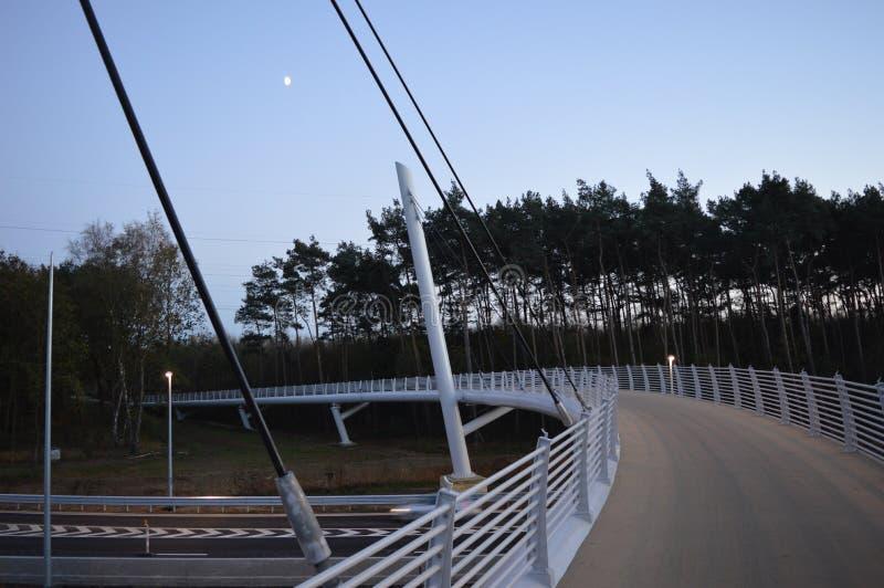 Nuovo ponte nel chiaro di luna fotografie stock