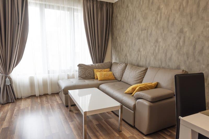Nuovo salone moderno Nuova casa Fotografia interna Pavimento di legno Sofà vicino alle finestre con le tende lunghe immagini stock