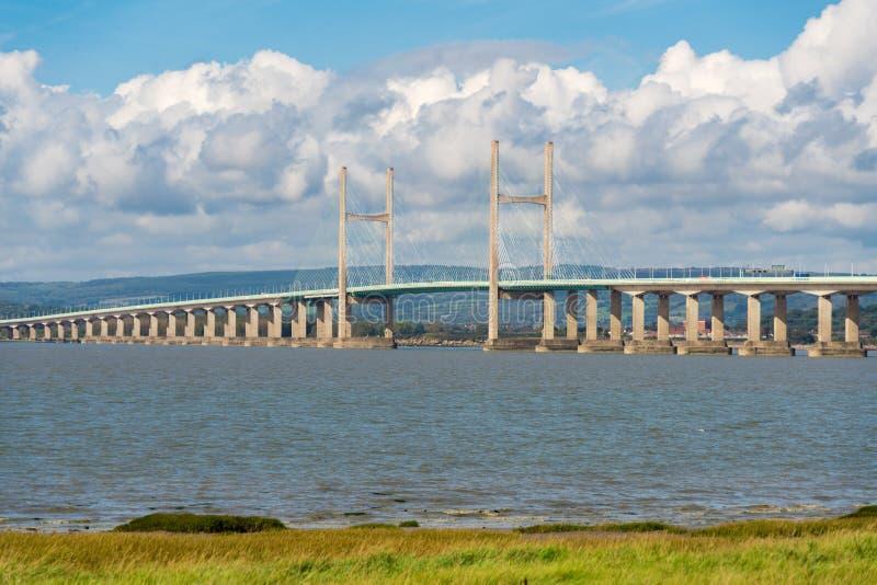 Nuovo Severn Bridge preso dal Aust, lato di Gloucestershire fotografia stock libera da diritti