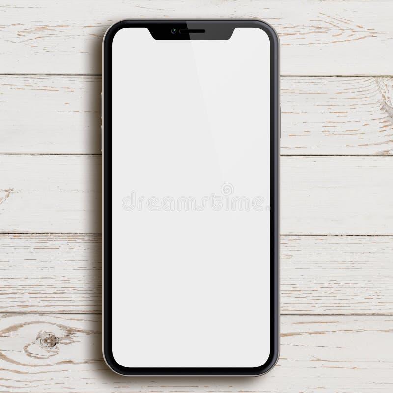 Nuovo smartphone simile al iphone X sull'illustrazione del legno bianca della tavola 3d illustrazione vettoriale