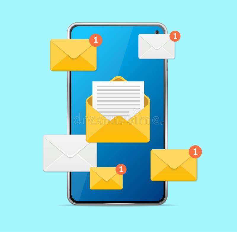 Nuovo touch screen del telefono cellulare di concetto del messaggio Vettore royalty illustrazione gratis
