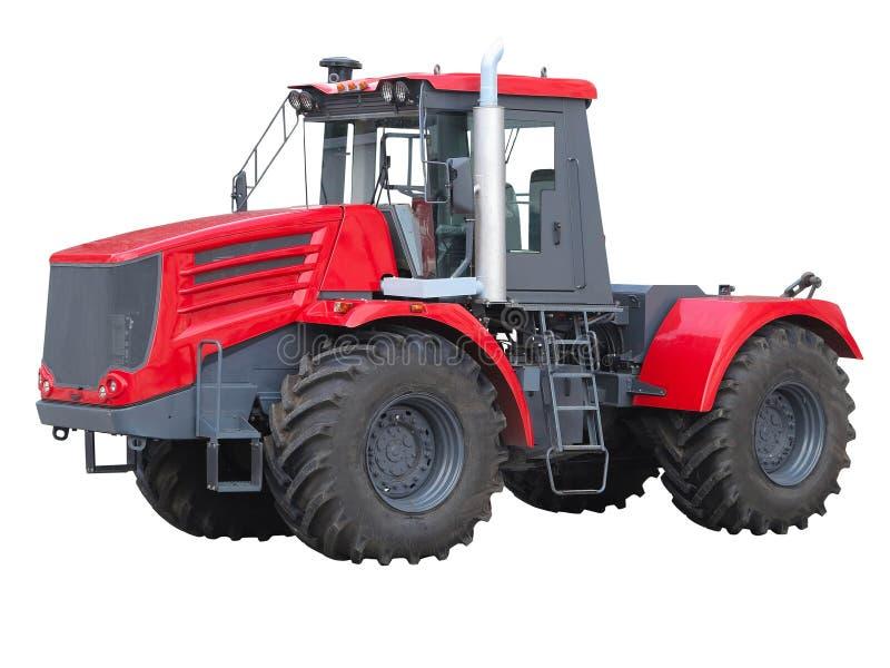 Nuovo trattore potente rosso isolato sopra bianco fotografia stock libera da diritti