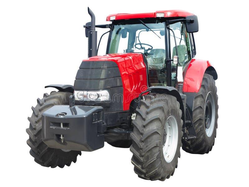 Nuovo trattore potente rosso isolato sopra bianco immagine stock libera da diritti