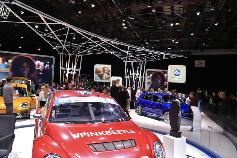 Nuovo veicolo 2018 di Volkswagen su esposizione all'esposizione automatica internazionale nordamericana immagine stock libera da diritti