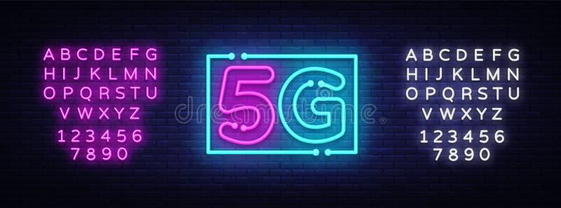 nuovo vettore senza fili dell'insegna al neon del collegamento di wifi di Internet 5G insegna al neon del modello di progettazion illustrazione vettoriale