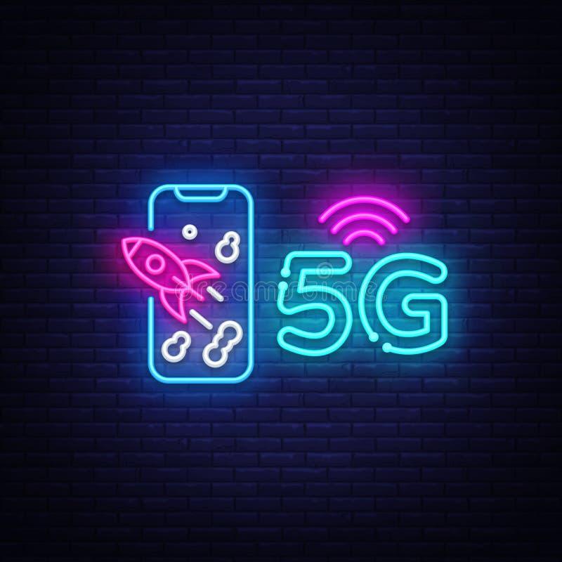 nuovo vettore senza fili dell'insegna al neon del collegamento di wifi di Internet 5G insegna al neon del modello di progettazion illustrazione di stock