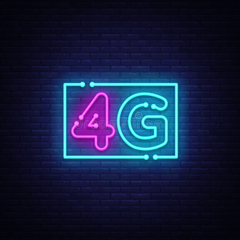nuovo vettore senza fili dell'insegna al neon del collegamento di wifi di Internet 4G insegna al neon del modello di progettazion royalty illustrazione gratis
