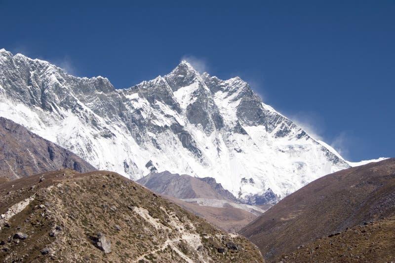 Nuptse, Lhotse, Everest - Nepal stock afbeeldingen