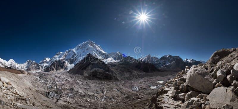 Nuptse or Nubtse mountain 7861m panorama shot with Khumbu Glacier on the foreground, Gorakshep. Khumbu Glacier is the world`s stock photo