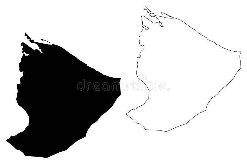 Nuqat al Khams District Districts of Libya, State of Libya, Tripolitania map vector illustration, scribble sketch Nuqat al Khams. Map stock illustration