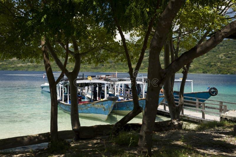 Nur łodzie przy Menjangan wyspą zdjęcie stock