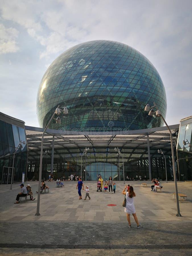 Nur-Alem展览会在阿斯塔纳,哈萨克斯坦 库存图片