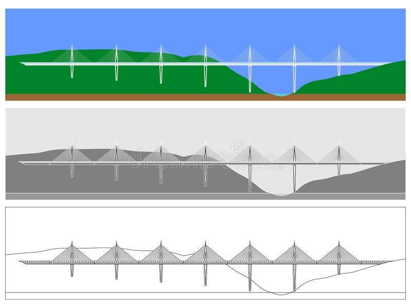 Nur Millau-Brückenskyline gefärbt und Entwurf vektor abbildung