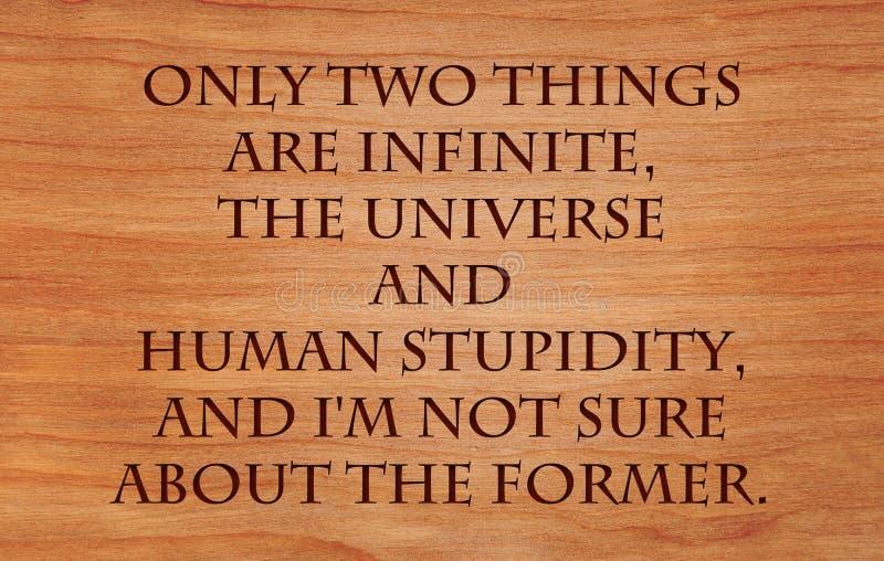 Nur zwei Sachen sind unbegrenzt, das Universum und die menschliche Dummheit stockbilder