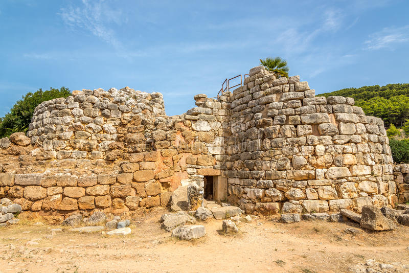 nuraghe Palmavera废墟在阿尔盖罗附近的 图库摄影