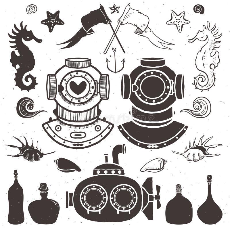 Nurek i łódź podwodna Roczników ręka rysujący elementy w nautycznym ilustracja wektor
