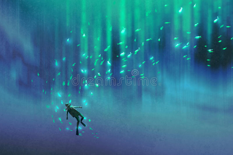 Nurek i wiele pod morzem rozjarzona ryba royalty ilustracja