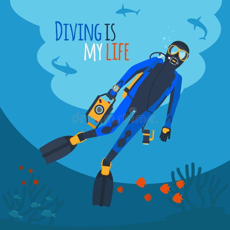 Nurek podwodna wektorowa ilustracja ilustracji