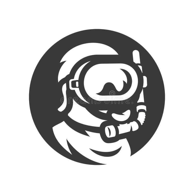 Nurek w podwodnym maskowym wektorowym sylwetka znaku royalty ilustracja