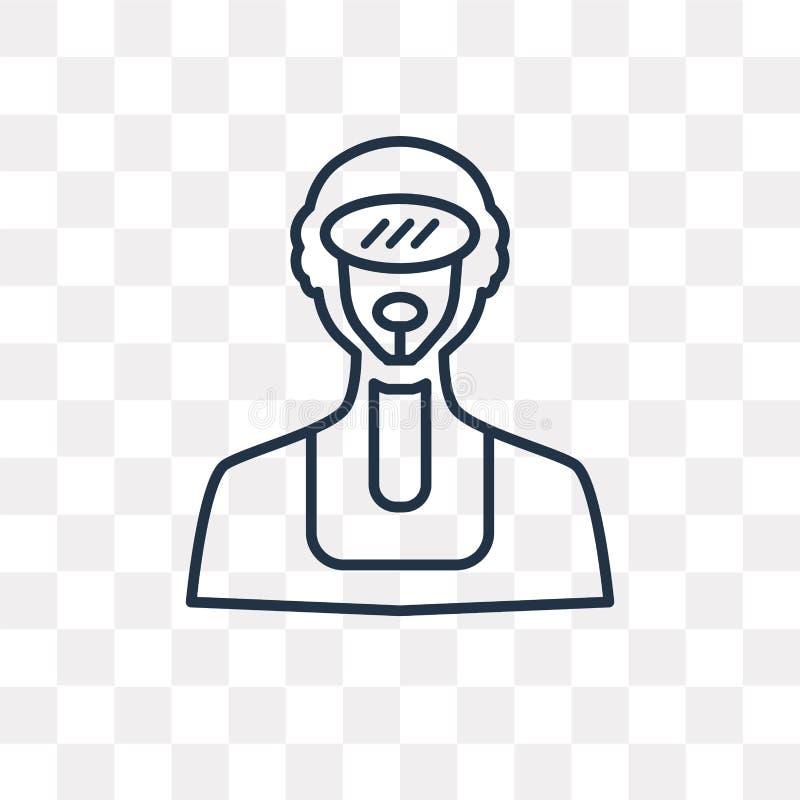 Nurek wektorowa ikona odizolowywająca na przejrzystym tle, liniowy Div ilustracji