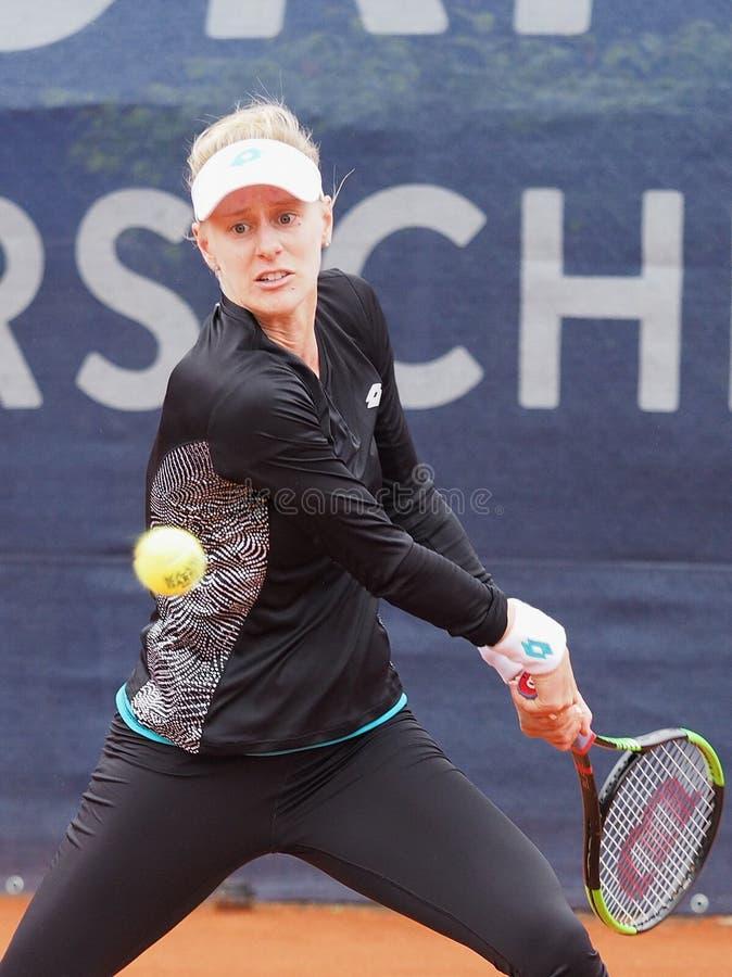 Nuremberg, Alemania - 20 de mayo de 2019: Jugador de tenis americano Alison Riske en los 250 euro Torneo 1r de 000 WTA Versicheru fotos de archivo