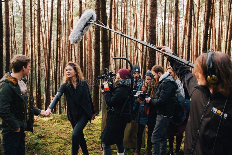8 9 2017 Nuremberg, Alemania: Detrás de la escena Escena de la película de la película del equipo del equipo de filmación en la u foto de archivo