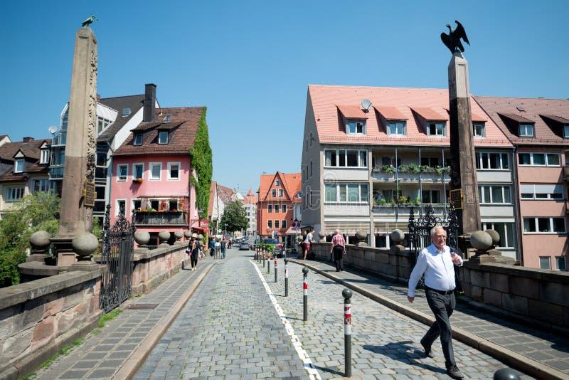 Nuremberg, Allemagne - 6 juin 2016 : Vue sur le Karlsbrid plus haut image libre de droits