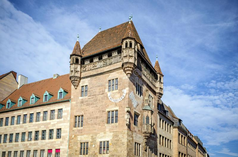NUREMBERG: Medieval sundial on the house wall in old town of Nuremberg, Germany. Sights of Bavaria stock photo