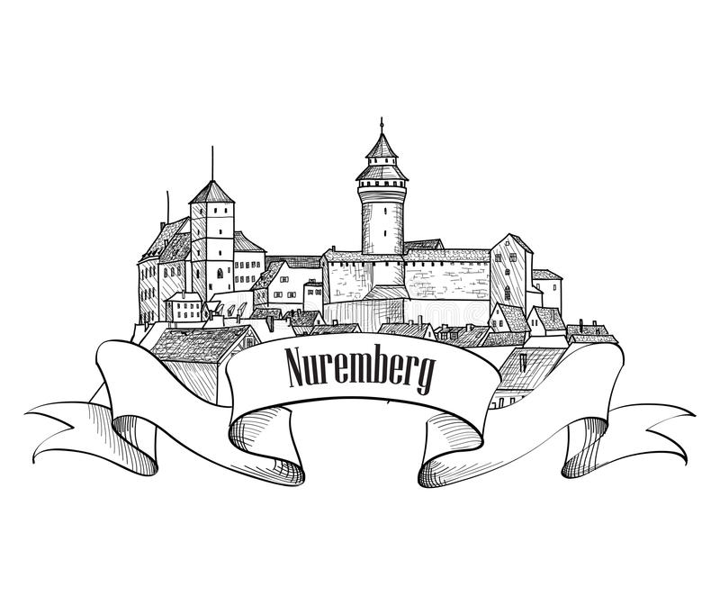 Nuremberg city symbol. Old Nurnberg travel Germany label. Old city Nuremberg icon isolated. Downtown view. Medieval european castle landscape. Pensil drawn royalty free illustration