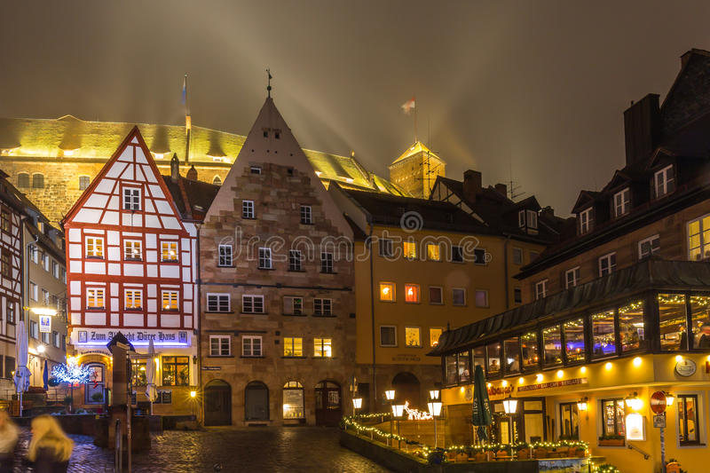 Nuremberg- foggy night-old town. Typical german architecture royalty free stock image