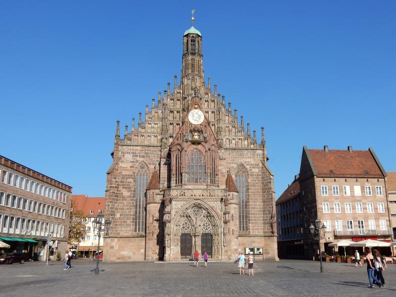 Nuremberg, Frauenkirche - Catholic Hall church built in brick late Gothic architecture, Germany. Nuremberg, West facade of the Frauenkirche - Church of Our Lady royalty free stock images