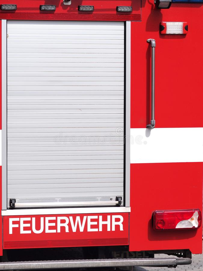 Nuremberg, Germany - August 14, 2019:  Fire brigade writing on the back of a German fire truck stock photos