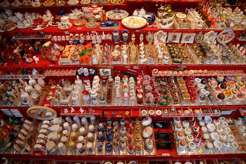 NUREMBERG, GERMANY - DECEMBER 23, 2013: A lot of miniature traditional German toys for doll houses. Nuremberg, Germany stock photography