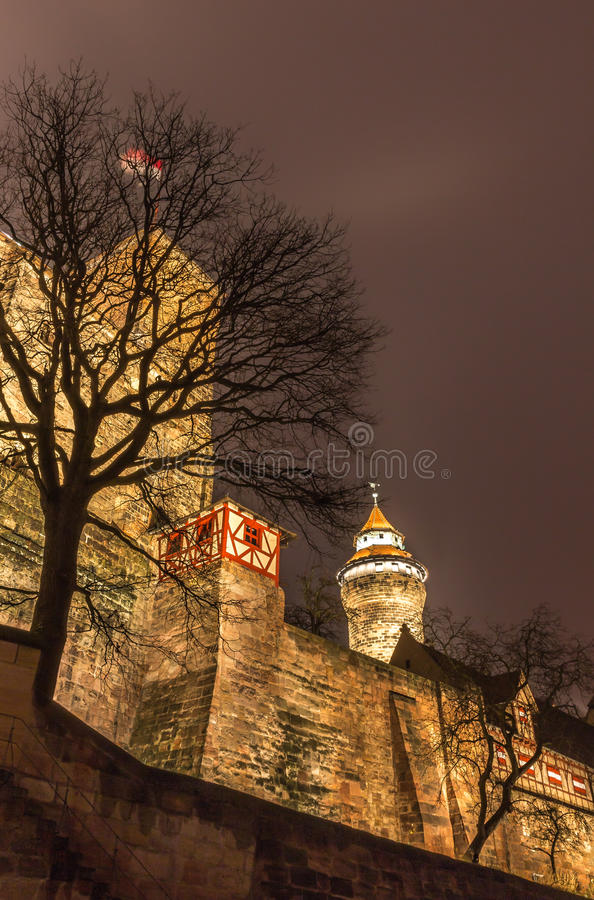 Nuremberg, Germany - defensive wall of Imperial Castle stock photo
