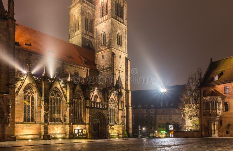 Nuremberg-Germany- foggy night- Sebaldus church. Nuremberg- Germany- old town- foggy night-gothic Sebaldus church illuminated by spotlights royalty free stock image