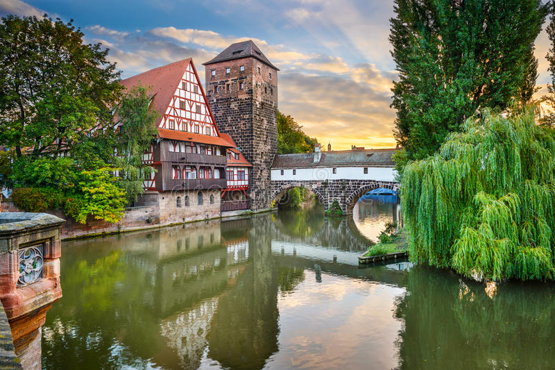 Nuremberg Germany Landmarks. Nuremberg, Germany at Hangman's Bridge over the Pegnitz River royalty free stock images