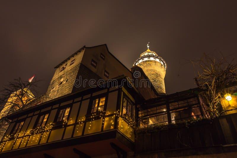 Nuremberg, Germany - pub under Imperial Castle- night scene royalty free stock photography