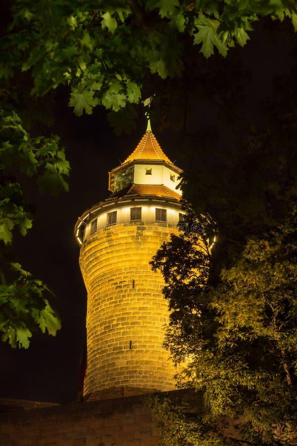 Nuremberg, Germany- round Tower Castle by night stock photo