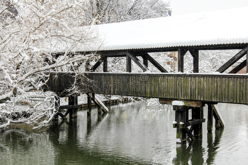 Nuremberg, Germany -winter snowy river royalty free stock images