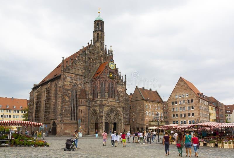 Nuremberg Hauptmarkt imagens de stock