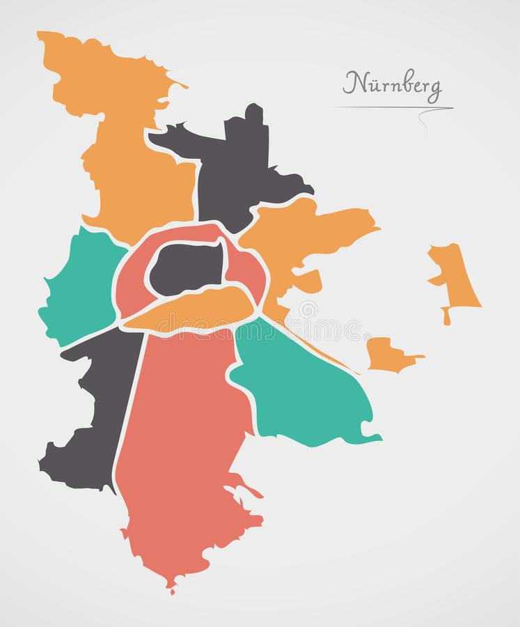 Nuremberg Map with boroughs and modern round shapes. Illustration stock illustration